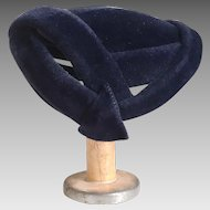 Vintage 1940s Dark Navy Blue Plush Felt Arrow Hat Lorie Body Made in France