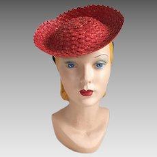 Vintage 1940s Red Straw Tilt Hat Toy Hat