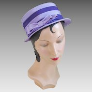 Vintage 1960s Two Tone Lilac and Grape Purple Modern Tiered Layered Church Hat with Large Bow