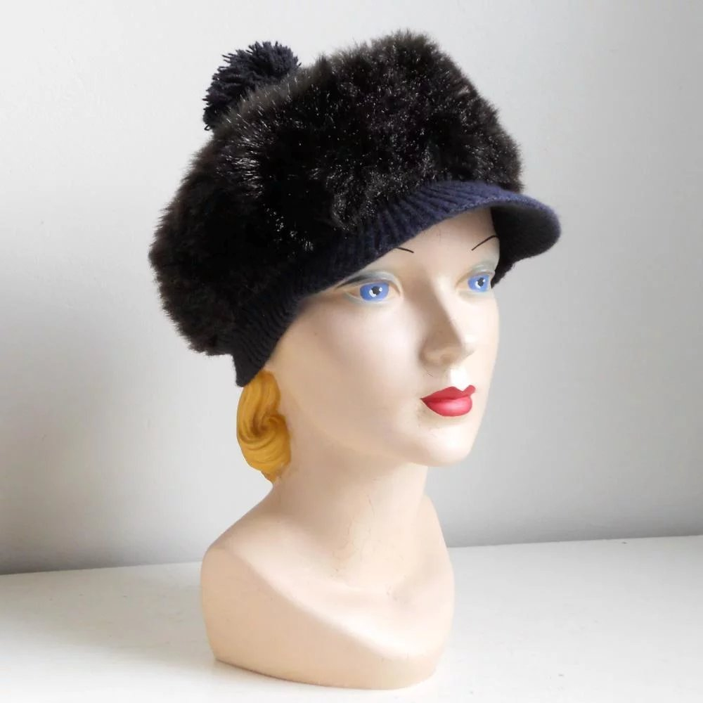 b824d50f09c3d Vintage 1960s Cozy Dark Faux Fur Winter Hat with GoGo Girl Brim   The  Vintage Merchant