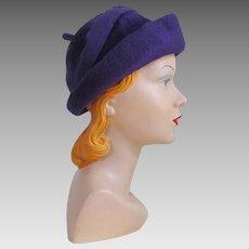 Vintage 1960s Duchess of Italy Plush Soft Purple Hat with Felt Trim