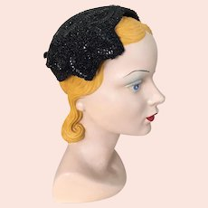 Vintage 1950s Beaded and Sequinned Black Evening Hat by Milgrim