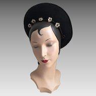 Vintage 1930s Off The Face Black Wool Felt Hat with Crochet Trim and Metallic Wire Scrolling by Jacoll of England