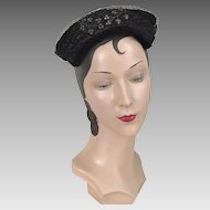 Vintage 1950s Shimmery Black Hat with Wired Charcoal Gray Bead Detail and Tie Back Veil