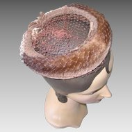 Vintage 1960s Light Brown Velvet Ring Halo Hat with Mink Trim Veil and Bows NOS