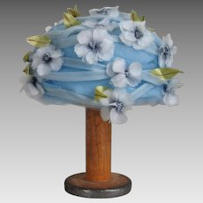 Vintage 1960s Sally Victor Sky Blue Spring Bubble Hat with Flowers