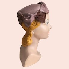 Vintage 1960s Cocoa Velvet and Linen Look Sculpted Hat Cap