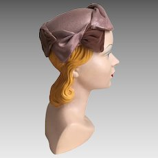 Vintage 1960s Cocoa Velvet and Linen Look Sculpted Hat Cap