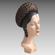 Vintage 1960s Espresso Brown Straw Wide Brimmed Breton Spring Summer Fall Hat