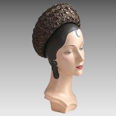 Vintage 1960s Espresso Brown Straw Wide Brimmed Breton Spring Summer Fall Hat