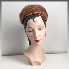 Vintage 1960s Noreen Natural Brown Fur Hat with Copper Satin Bow and Trim