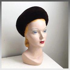 Vintage 1960s Espresso Brown Deep Brim Velvet Breton Hat By Frank Olive