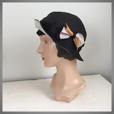 Vintage 1933-1935 NRA Blue Eagle Label Black Straw Cloche Hat with Bakelite Hat Pin Hatpin