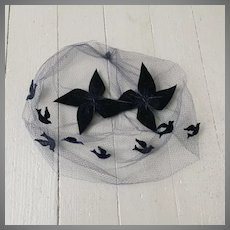 Vintage 1960s Dark Navy Blue Black Whimsy Veil Hat with Bows and Birds