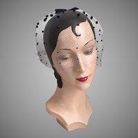 Vintage 1960s Black Polka Dot Veil Whimsy Hat