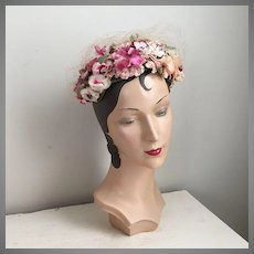 Vintage 1950s Frances Adams Flower Covered Hat in Pink Cream Green