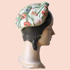 Vintage 1950s Cello Spring Summer Calot Juliette Half Hat with Flocked Flowers and Green Silk Net