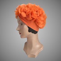 Vintage 1960s Bright Orange Knit Turban Hat with Chiffon Petals