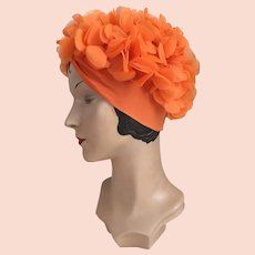 Vintage 1960s Bright Orange Knit Turban Hat with Chiffon Petals