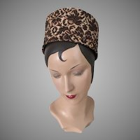 Vintage 1960s High Rise Pillbox Tapestry Toque Hat Brown Black