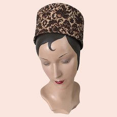 Vintage 1960s High Rise Pillbox Tapestry Toque Hat Brown Black