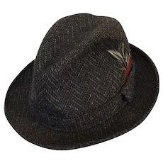 Vintage 1970s Mens Dark Gray and Brown Chevron Tweed Fedora Hat