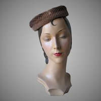 Vintage 1960s Light Brown Velvet Halo Hat with Mink Fur Trim Veil and Bows NOS