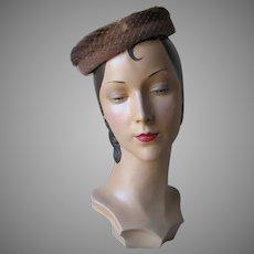 Vintage 1960s Light Brown Velvet Halo Hat with Mink Fur Trim Veil and Bows NOS
