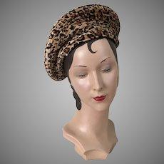 Vintage 1990s Soft Leopard Print Velour Beret Hat