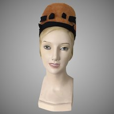 Vintage 1960s Betmar High Rise Mod Pillbox Statment Toque Hat Harvest Gold Black