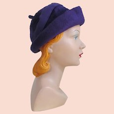 Vintage 1960s Duchess of Italy Soft Plush Purple Rolled Brim Trilby Hat
