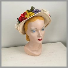 Vintage 1940s Marshall Field & Company Spring Straw Hat with Colorful Flowers