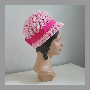 Vintage 1960s Pink Novelty Weave Summer Straw Bubble Hat