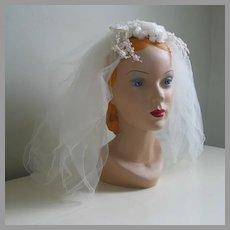 Vintage 1960s Gossamer Bridal Wedding Veil Blusher Length