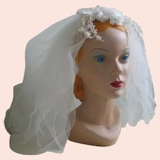 Vintage 1960s Gossamer Bridal Wedding Veil Blusher Length