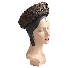 Vintage 1960s Espresso Brown Straw Wide Brimmed Breton Hat