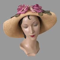 Vintage 1970s Large Straw Sunhat Hat with Two Orchid Silk Roses