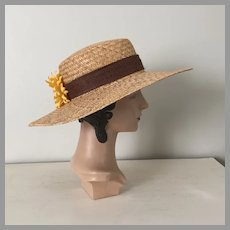 Vintage 1980s Large Straw Sunhat Hat with Sunflower