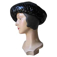 Vintage 1960s Shiny Black Summer Cello Straw Hat by Miss Lili Dallas
