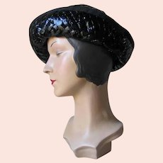 Vintage 1960s Shiny Black Summer Cello Straw Hat by Miss Lili Dallas