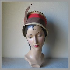 Vintage 1960s Summer Straw Hat with Orange Brown Trim by American Designer Michael Terre