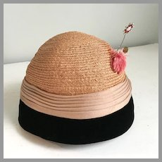 Vintage 1960s Straw and Velvet Hat with Tassle and 2 Fancy Pins Junior B