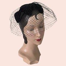 Vintage 1960s Black Velvet Bow Hat Band with Veil Netting Whimsy