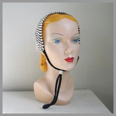 Vintage 1950s Black Cream and Silver Winter Knit Hat Earwarmers Earmuffs