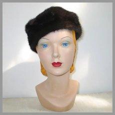 Vintage 1960s Chocolate Brown Fur Pillbox Hat Adolfo Realite's Paris New York
