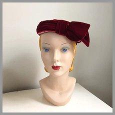 Vintage 1960s Dark Red Wine Velvet Pillbox Hat with Schiaparelli Pink Trim