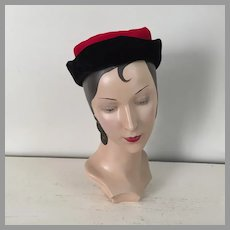 Vintage 1940s 1950s Red and Black Velveteen Winter Hat