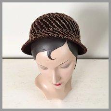 Vintage 1960s Modern Vera Whistler Original Hat Copper Beading on Dark Brown Felt