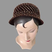 Vintage 1960s Modern Vera Whistler Original Hat Copper Beading on Dark Brown Felt