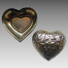 Vintage 1970s Domed Heart Shaped Jewelry Trinket Love Box
